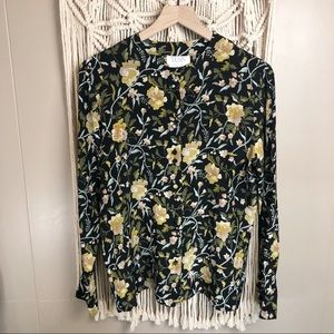 Vintage silk muted floral long sleeve blouse 6